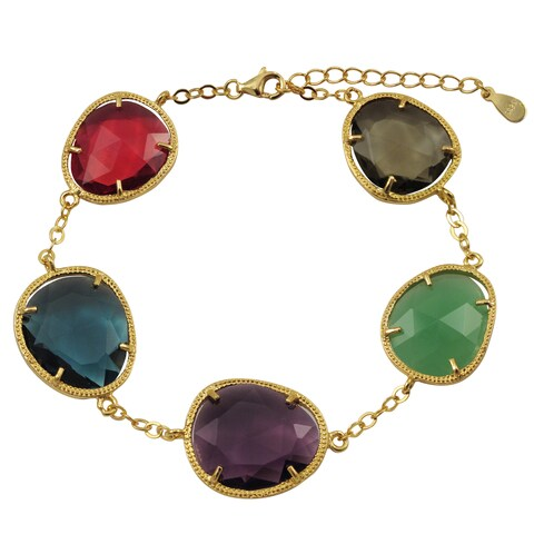 Luxiro Gold Finish Sterling Silver Multicolor Sliced Glass Bracelet