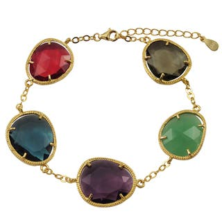 Luxiro Gold Finish Sterling Silver Multicolor Sliced Glass Bracelet|https://ak1.ostkcdn.com/images/products/12135629/P18992362.jpg?impolicy=medium