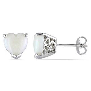 Miadora Sterling Silver Heart-Cut Opal Stud Earrings