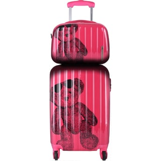 Lulu Castagnette Fuschia Aluminum Hardside Carry-on Spinner Luggage Set (Set of 2 Pieces)
