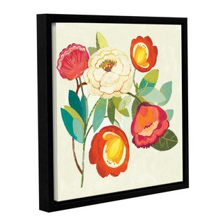 Dusty Knight's 'Golden Kisses I Spice and Fuchsia Vignette' Gallery Wrapped Floater-framed Canvas