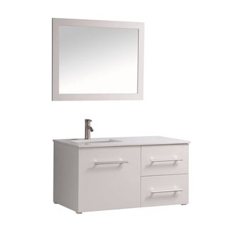 MTD Vanities Nepal Painted White Wood/Oak/Ceramic 41-inch Single Sink Wall Mounted Bathroom Vanity Set