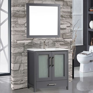 MTD Vanities Argentina Painted Grey Wood/Oak/Ceramic 48-inch Single Sink Bathroom Vanity Set