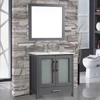 MTD Vanities Argentina Painted Grey Wood/Oak/Ceramic 48-inch Single Sink Bathroom Vanity Set