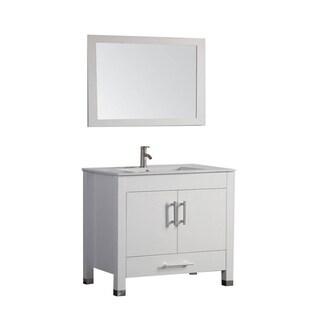 MTD Vanities Monaco Painted White Wood, Oak, and Ceramic 36-inch Single-sink Bathroom Vanity Set