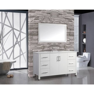 MTD Vanities Monaco White Oak Wood 60-inch Single Sink Bathroom Vanity Set