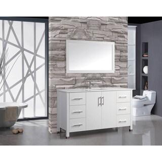 MTD Vanities Monaco White Oak Wood 60-inch Single Sink Bathroom Vanity Set