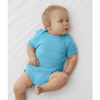 Rabbit Skins Infant Blue Cotton Lap Shoulder Bodysuit