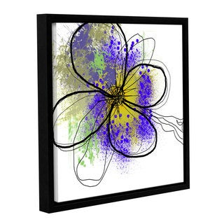 Irena Orlov's 'Purple Green Abstract Brush Splash Flower I' Gallery Wrapped Floater-framed Canvas