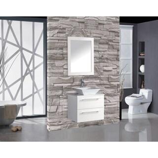 MTD Vanities Malta Painted White Wood/Oak/Ceramic 36-inch Single-sink Wall-mounted Bathroom Vanity Set
