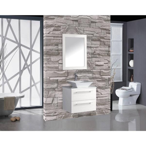Shop Malta White 24 Inch Single Sink Wall Mounted Bathroom Vanity