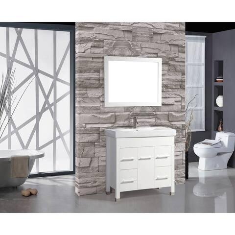Greece Single Sink White Oak 36-inch Bathroom Vanity Set