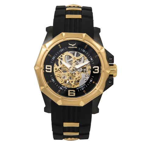 Aquaswiss Vessel G Black/Gold Silicone/Stainless Steel/Sapphire-coated Mineral Automatic Unisex Watch