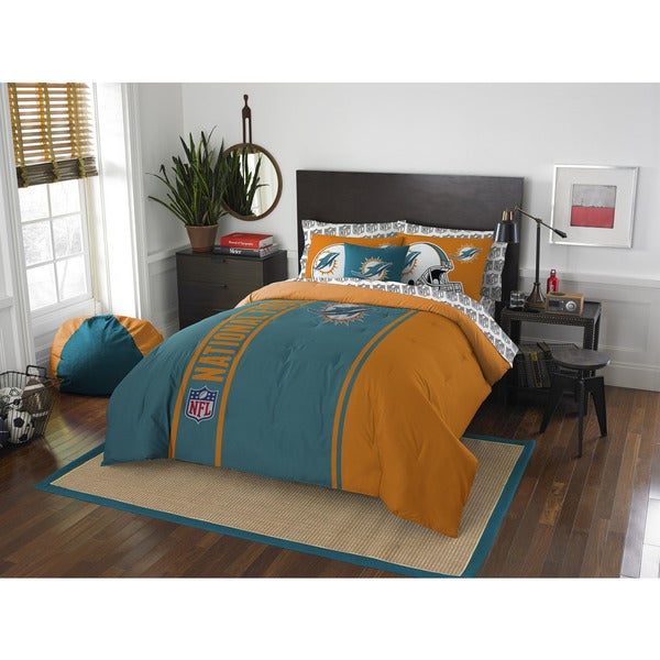 The Northwest Company NFL Miami Dolphins Full 7-piece Bed in a Bag with Sheet Set