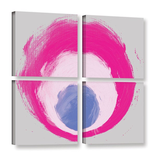 Irena Orlov's 'Grey Rose Blue Elements' 4-piece Gallery Wrapped Canvas Square Set