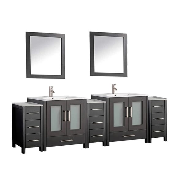 Shop mtd vanities argentina painted grey white espresso wood oak ceramic 84 inch double sink for 84 inch white bathroom vanity