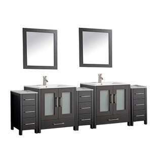 MTD Vanities Argentina Painted Grey/White/Espresso Wood/Oak/Ceramic 84-inch Double Sink Bathroom Vanity Set