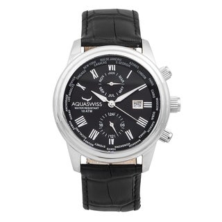 Aquaswiss 20G5004 Black Leather/Stainless Steel/Sapphire-coated Mineral Classic Unisex Watch