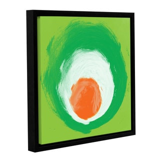 Irena Orlov's 'Green White Orange Elements' Gallery Wrapped Floater-framed Canvas