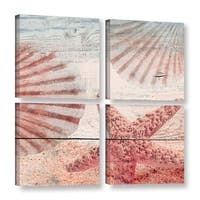 Irena Orlov's 'Sea Shells And Starfish On Sandy Beach I' 4-piece Gallery Wrapped Canvas Square Set