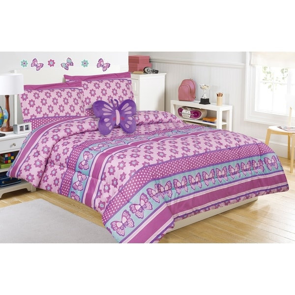Emmalynn Flower and Butterfly Comforter Set with Decorative Pillow