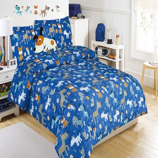 Puppy Play Blue Comforter Set with Decorative Pillow