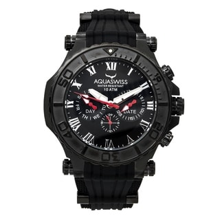 Aquaswiss Men's Black Silicone, Stainless Steel Water Resistant Watch