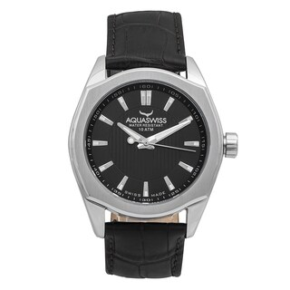 Aquaswiss Unisex 20G4002 Classic IV Black Leather and Stainless Steel Watch