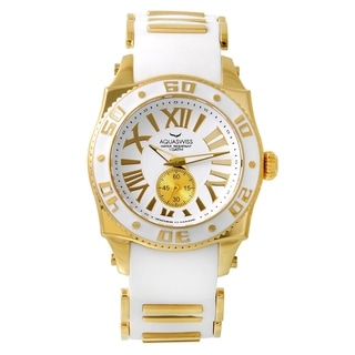 AQS Swissport White/Goldtone Silicone/Stainless Steel/Sapphire-coated Mineral Unisex Watch