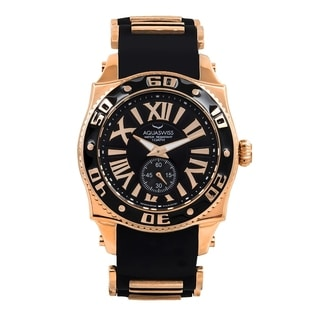 AQS Unisex Black and Rosegold Swissport G Watch