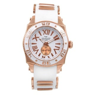 AQS Unisex White/Rosegold Swissport G Watch
