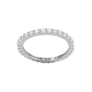 Luxiro Sterling Silver 2-mm Cubic Zirconia Eternity Ring