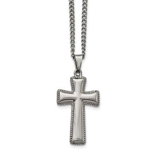 Chisel White Stainless Steel Polished Cushion Cross Necklace