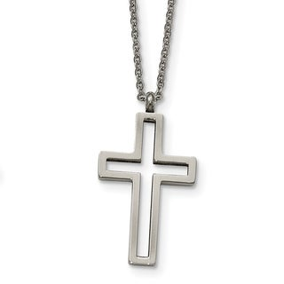 Stainless Steel Brushed and Polished Cut-out Cross Necklace