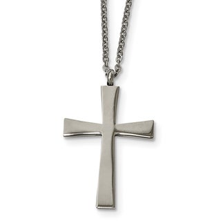 Chisel Stainless Steel Brushed and Polished Cross Necklace