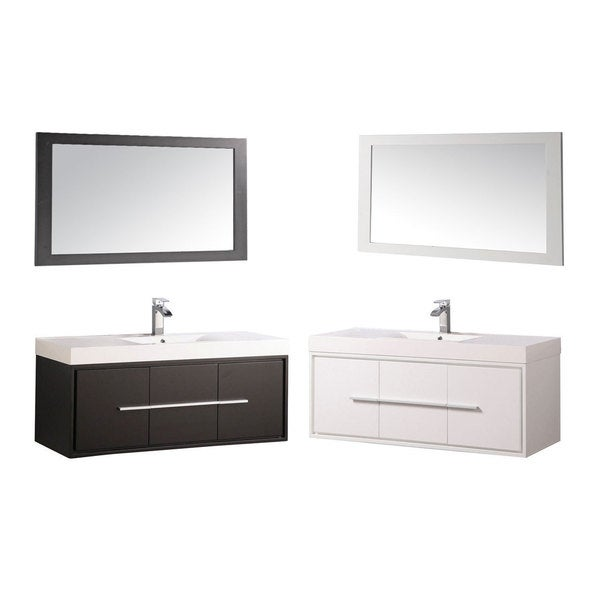 Wood acrylic 48 inch single sink wall mounted floating bathroom vanity