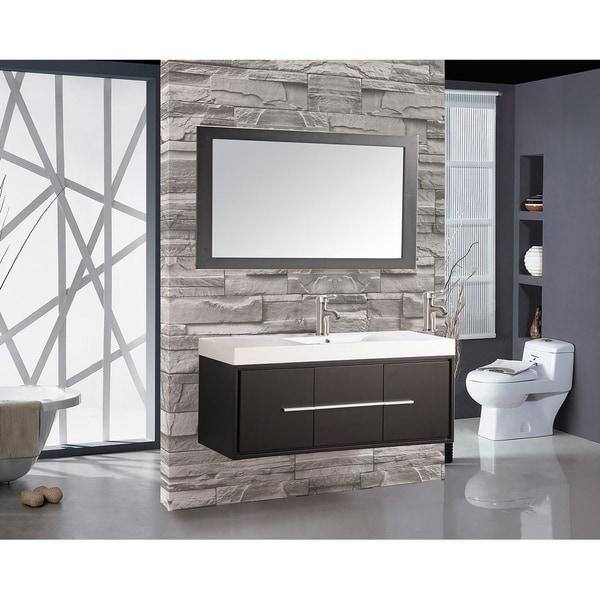 MTD Vanities Wood/Acrylic 48 Inch Single Sink Wall Mounted Floating Bathroom