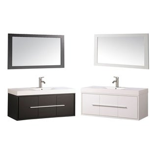 MTD Vanities Wood/Acrylic 48-inch Single-sink Wall-mounted Floating Bathroom Vanity Set
