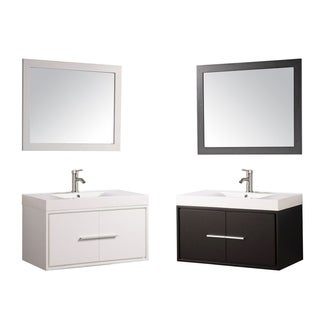 The Cypress Single-sink Wood Acrylic and Chrome 36-inch Wall-mounted Bathroom Vanity Set