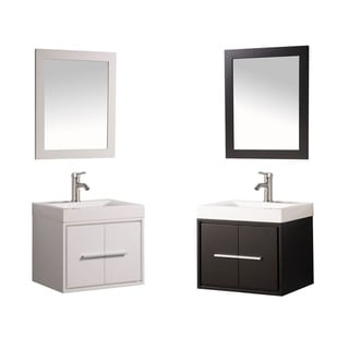 MTD Vanities Cypress Painted White/Espresso Wood/Oak/Acrylic 24-inch Single Sink Wall Mounted Floating Bathroom Vanity Set