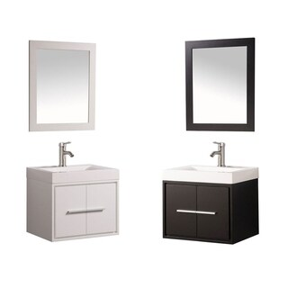 MTD Vanities Cypress Painted White/Espresso Wood/Oak/Acrylic 24-inch Single Sink Wall Mounted Floati (2 options available)