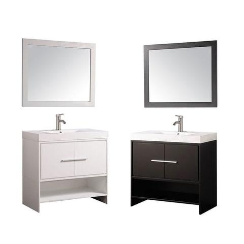 Shop mtd vanities cypress white espresso wood oak acrylic 36 inch single sink bathroom vanity for 36 inch espresso bathroom vanity