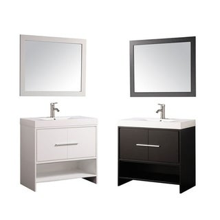 MTD Vanities Cypress White/Espresso Wood/Oak/Acrylic 36-inch Single Sink Bathroom Vanity Set