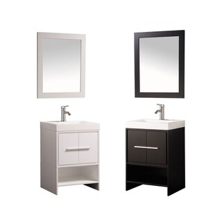 MTD Vanities Cypress Painted White/Espresso Wood/Oak/Acrylic 24-inch Single-sink Bathroom Vanity Set