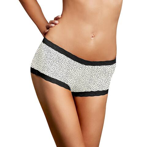 Maidenform Women's Black and White Microfiber and Lace Twinkle Boyshorts