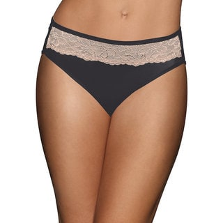 Bali Black Nylon/Spandex/Cotton with Nude Lace Hi-cut Panty