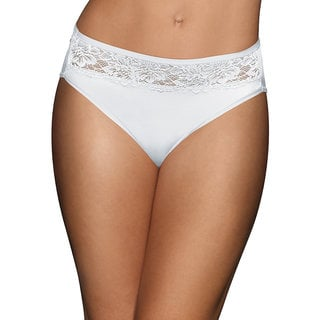 Bali Women's White Nylon/Spandex/Cotton High-cut Panty