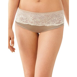 Bali Women's Beige Nylon and Spandex Fully Lined Hipster Panty