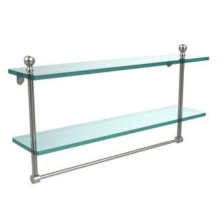 Allied Brass Mambo Collection Glass 22-Inch Two-tiered Shelf with Integrated Towel Bar