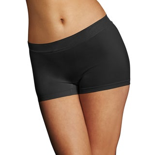 Maidenform Pure Genius Women's Black Nylon/Polyester/Spandex Seamless Boyshort